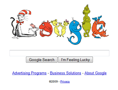 Dr. Seuss' birthday on Google