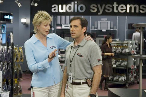 "Jane Lynch in ""The 40-Year-Old Virgin"" with Steve Carell."