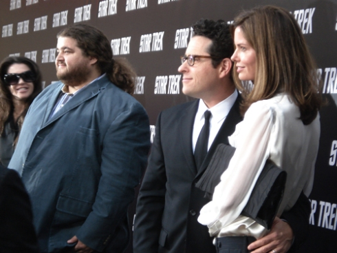 "Jorge Garcia, J.J. Abrams and Katie Abrams at the ""Star Trek"" Premiere"