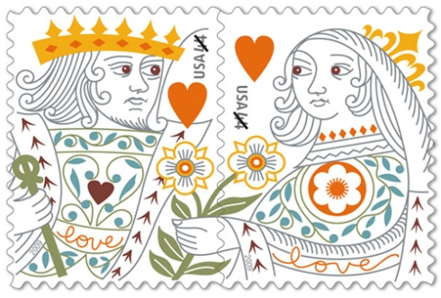 "King and Queen ""LOVE"" stamps"