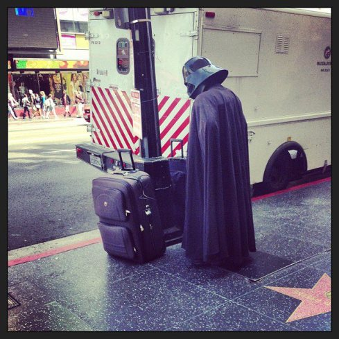 Darth's vacation begins.