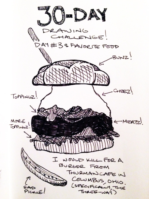 """30-Day Drawing Challenge: Day 3 (""""Favorite Food"""")"""