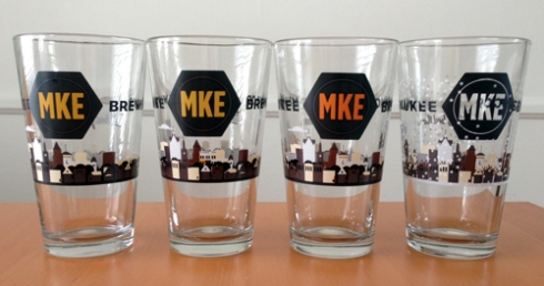 Milwaukee Brewing Co. pint glasses from Tiggins!