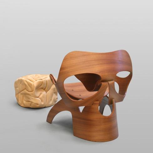Vladi Rapaport's skull chair and brain ottoman.