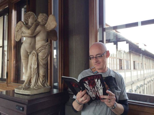 "Dominic Glynn reading ""The Roberts"" at the Uffizi Gallery in Florence, Italy!"