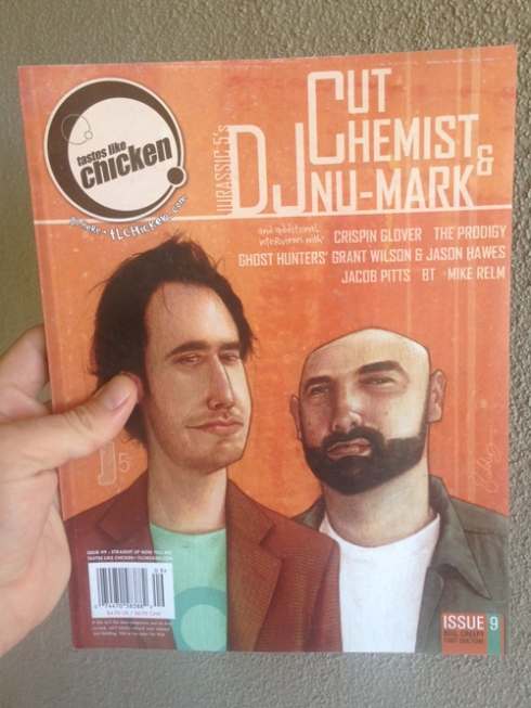 "DJ Nu-Mark (alongside fellow Jurassic 5 DJ Cut Chemist) on the final print issue (#9) of ""Tastes Like Chicken."""