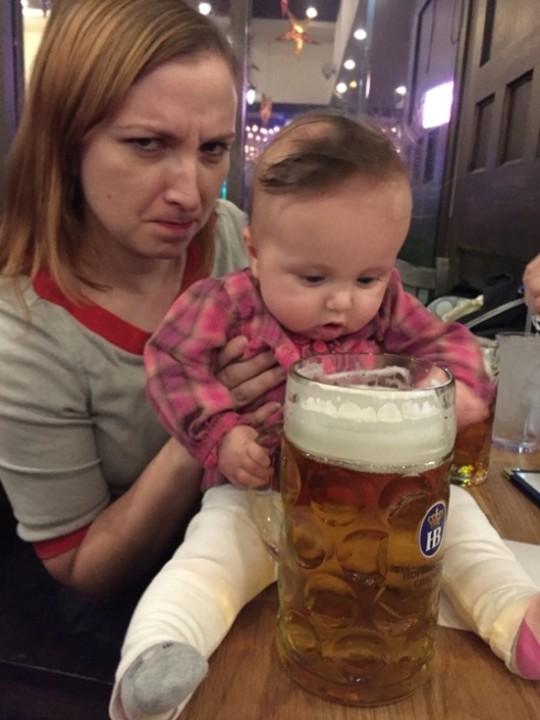 Grey's first beer was as big as her!
