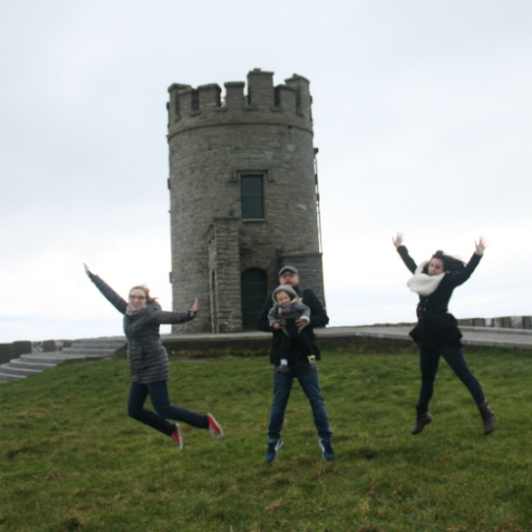 The 2017 jump photo at O'Brien's Tower at the Cliffs of Moher.