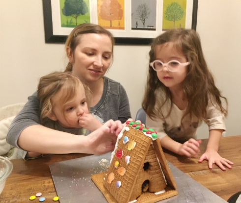 A night of first gingerbread houses!